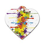 Crazy Multicolored Double Running Splashes Dog Tag Heart (One Side) Front