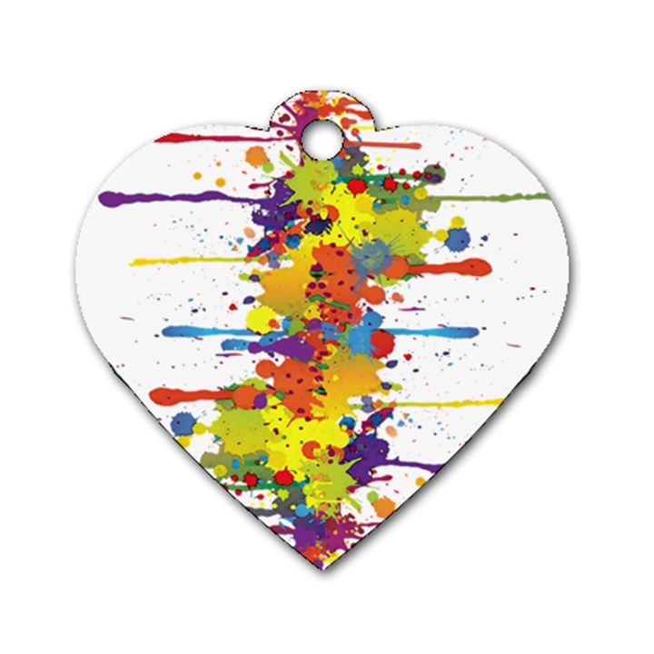 Crazy Multicolored Double Running Splashes Dog Tag Heart (Two Sides)