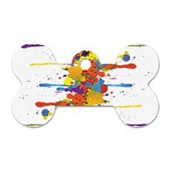 Crazy Multicolored Double Running Splashes Dog Tag Bone (one Side)