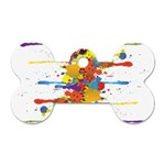 Crazy Multicolored Double Running Splashes Dog Tag Bone (One Side) Front