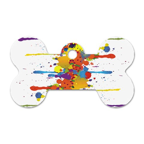 Crazy Multicolored Double Running Splashes Dog Tag Bone (Two Sides)