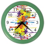 Crazy Multicolored Double Running Splashes Color Wall Clocks Front