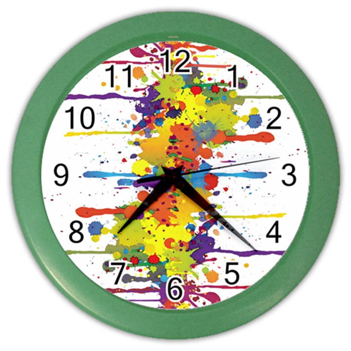 Crazy Multicolored Double Running Splashes Color Wall Clocks