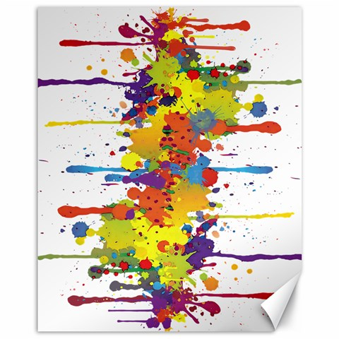 Crazy Multicolored Double Running Splashes Canvas 11  x 14