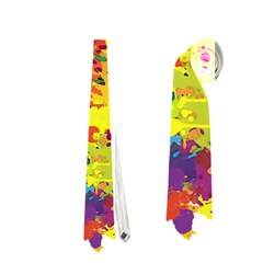 Crazy Multicolored Double Running Splashes Neckties (one Side)