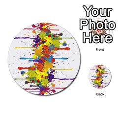 Crazy Multicolored Double Running Splashes Multi Purpose Cards (round)