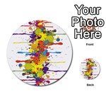 Crazy Multicolored Double Running Splashes Multi-purpose Cards (Round)  Front 43