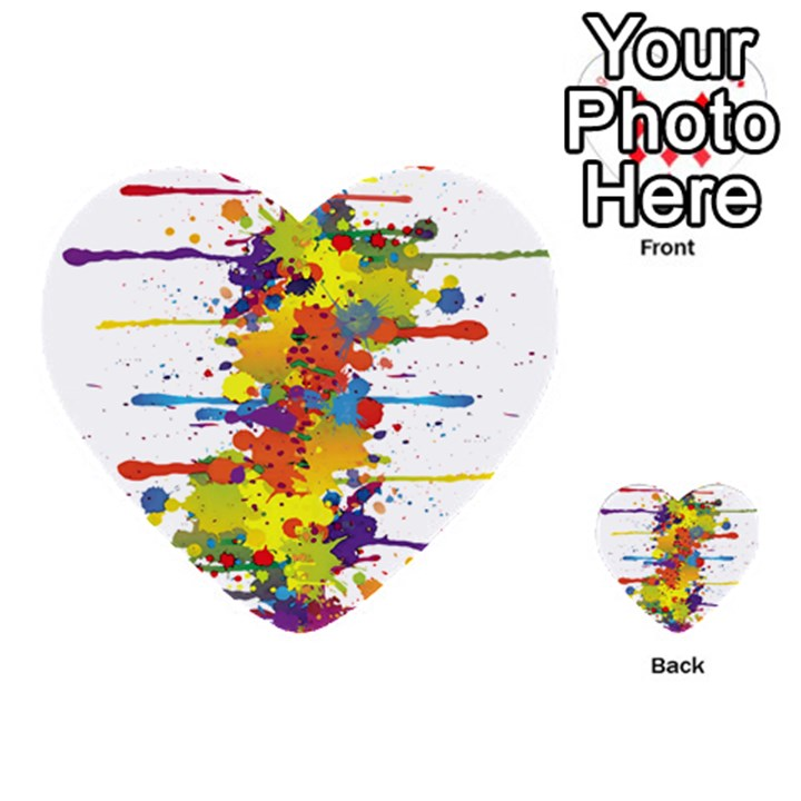 Crazy Multicolored Double Running Splashes Multi-purpose Cards (Heart)