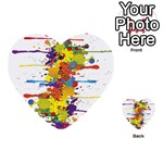 Crazy Multicolored Double Running Splashes Multi-purpose Cards (Heart)  Front 51