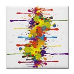 Crazy Multicolored Double Running Splashes Face Towel Front