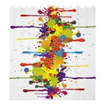 Crazy Multicolored Double Running Splashes Shower Curtain 66  x 72  (Large)  58.75 x64.8 Curtain