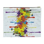 Crazy Multicolored Double Running Splashes Cosmetic Bag (XL) Back
