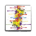 Crazy Multicolored Double Running Splashes Memory Card Reader (Square) Front