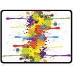 Crazy Multicolored Double Running Splashes Fleece Blanket (Large)  80 x60 Blanket Front