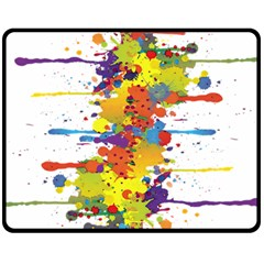 Crazy Multicolored Double Running Splashes Fleece Blanket (Medium)