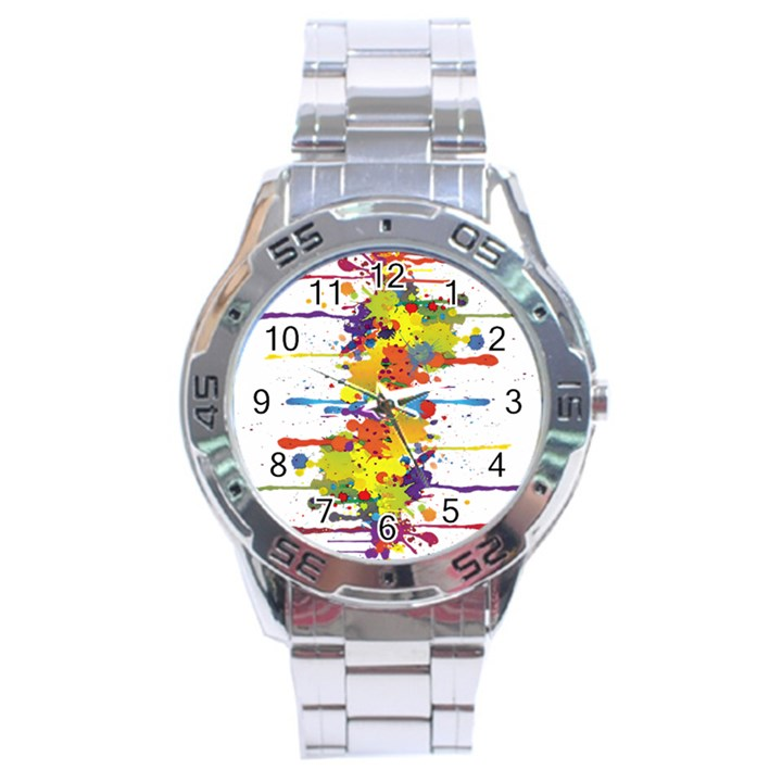 Crazy Multicolored Double Running Splashes Stainless Steel Analogue Watch