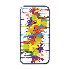 Crazy Multicolored Double Running Splashes Apple Iphone 4 Case (black)