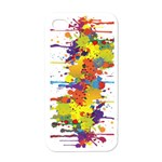 Crazy Multicolored Double Running Splashes Apple iPhone 4 Case (White) Front