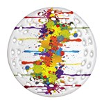 Crazy Multicolored Double Running Splashes Ornament (Round Filigree)  Front