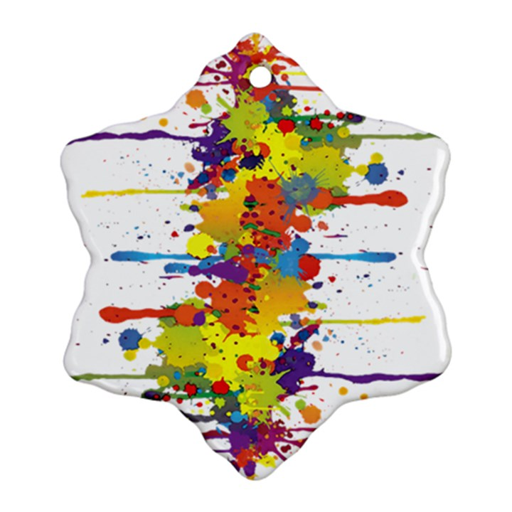 Crazy Multicolored Double Running Splashes Snowflake Ornament (2-Side)