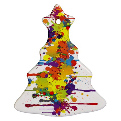 Crazy Multicolored Double Running Splashes Christmas Tree Ornament (2 Sides)