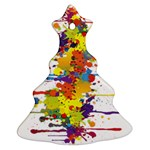 Crazy Multicolored Double Running Splashes Christmas Tree Ornament (2 Sides) Front