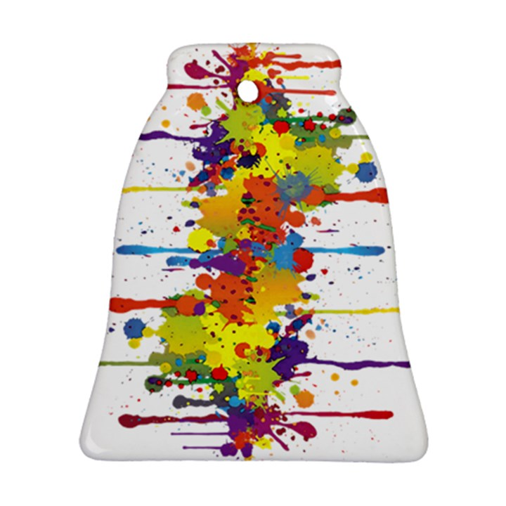 Crazy Multicolored Double Running Splashes Bell Ornament (2 Sides)