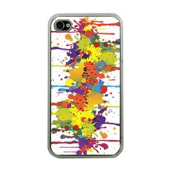 Crazy Multicolored Double Running Splashes Apple Iphone 4 Case (clear)