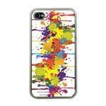 Crazy Multicolored Double Running Splashes Apple iPhone 4 Case (Clear) Front