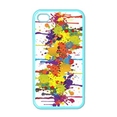Crazy Multicolored Double Running Splashes Apple iPhone 4 Case (Color)