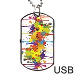 Crazy Multicolored Double Running Splashes Dog Tag USB Flash (One Side) Front