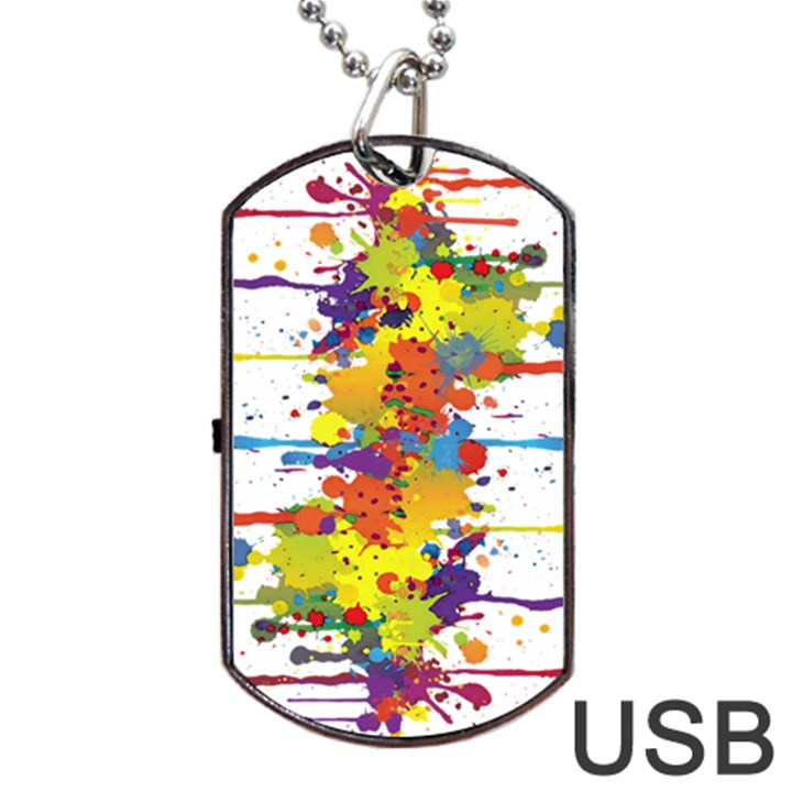 Crazy Multicolored Double Running Splashes Dog Tag USB Flash (Two Sides)