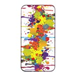 Crazy Multicolored Double Running Splashes Apple iPhone 4/4s Seamless Case (Black) Front
