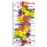 Crazy Multicolored Double Running Splashes Apple iPhone 4/4s Seamless Case (White) Front