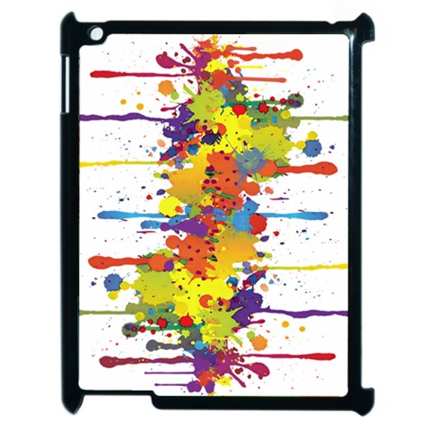 Crazy Multicolored Double Running Splashes Apple iPad 2 Case (Black)