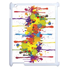Crazy Multicolored Double Running Splashes Apple iPad 2 Case (White)