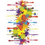 Crazy Multicolored Double Running Splashes LOVE Bottom 3D Greeting Card (7x5) Inside