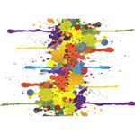 Crazy Multicolored Double Running Splashes LOVE Bottom 3D Greeting Card (7x5) Back
