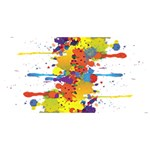 Crazy Multicolored Double Running Splashes HUGS 3D Greeting Card (8x4) Back