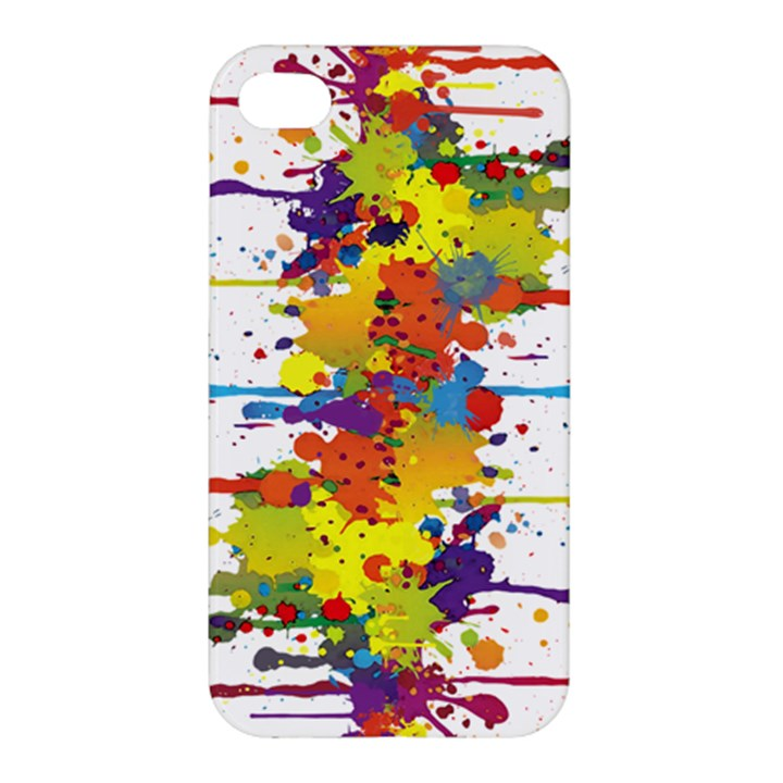 Crazy Multicolored Double Running Splashes Apple iPhone 4/4S Hardshell Case