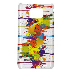 Crazy Multicolored Double Running Splashes Samsung Galaxy S2 i9100 Hardshell Case