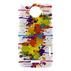Crazy Multicolored Double Running Splashes HTC One X Hardshell Case