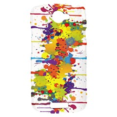 Crazy Multicolored Double Running Splashes HTC One S Hardshell Case