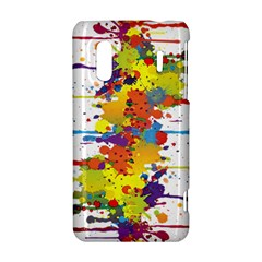Crazy Multicolored Double Running Splashes HTC Evo Design 4G/ Hero S Hardshell Case