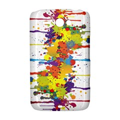 Crazy Multicolored Double Running Splashes HTC ChaCha / HTC Status Hardshell Case
