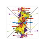 Crazy Multicolored Double Running Splashes Acrylic Tangram Puzzle (4  x 4 ) Front