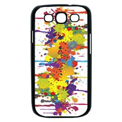 Crazy Multicolored Double Running Splashes Samsung Galaxy S III Case (Black)