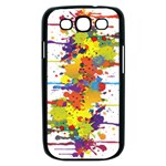 Crazy Multicolored Double Running Splashes Samsung Galaxy S III Case (Black) Front