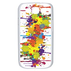 Crazy Multicolored Double Running Splashes Samsung Galaxy S III Case (White)