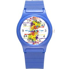 Crazy Multicolored Double Running Splashes Round Plastic Sport Watch (s)